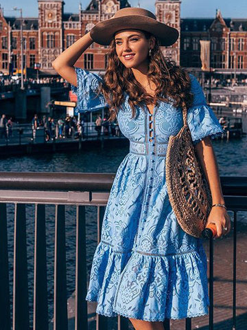 CM-D100829 Women Elegant European Style Single-Breasted Short Sleeve Lace Dress - Blue