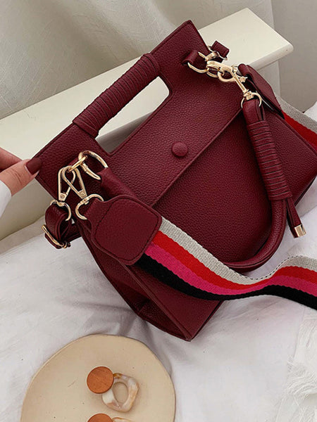CM-BG121035 Women Trendy Seoul Style Detachable Stripes Belt Shoulder Bag - Wine Red