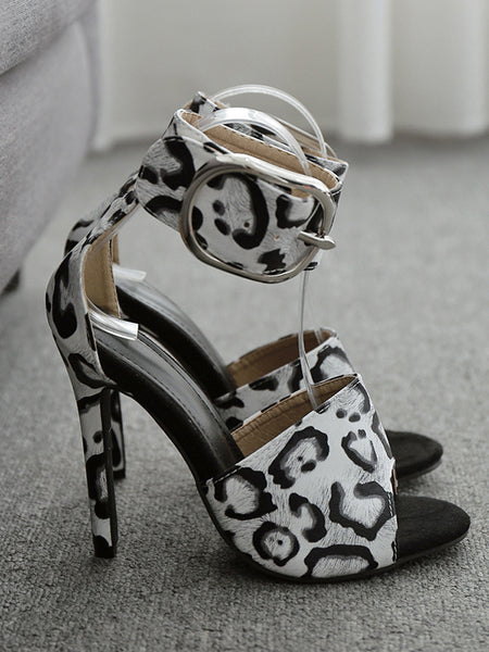 CM-SH030409 Women Elegant Seoul Style Animal Printed Buckle Strap Open Toe Sandals
