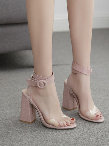 CM-SH041158 Women Elegant Seoul Style Buckle Strap Open Toe Chunky Sandals - Pink