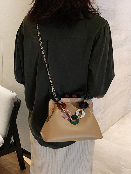 CM-BG040962 Women Trendy Multi-Color Thick Chain Wooden Patchwork Chain Shoulder Bag (Available in 6 colors)