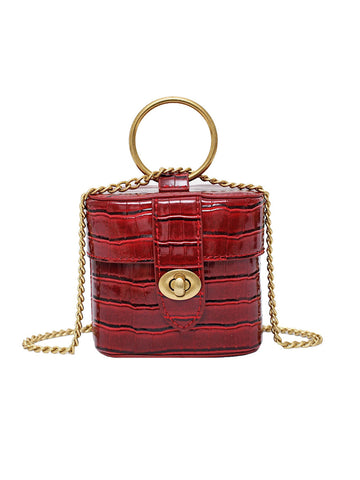 CM-BG041869 Women Trendy Metal Ring Handle Twist Lock Small Chain Crossbody Bag (Available in 5 colors)