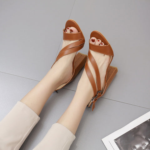 CM-SH051803 Women Elegant Seoul Style Round Toe Chunky Heels Solid Sandals - Brown