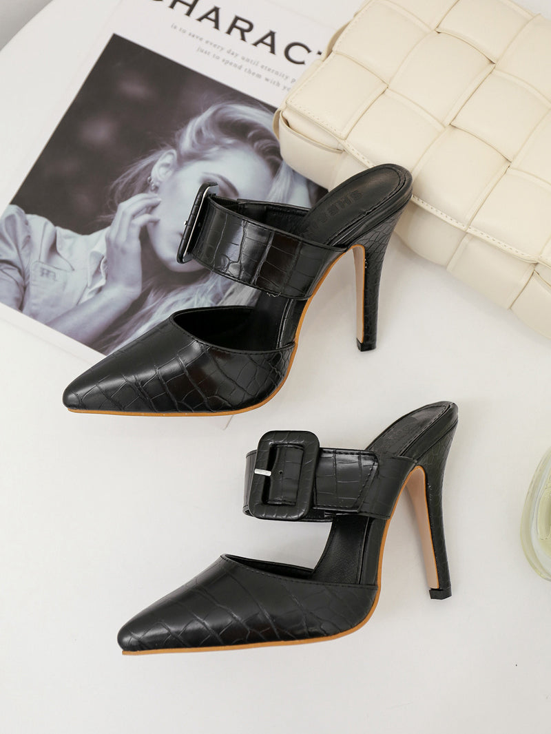 CM-SH051807 Women Elegant Seoul Style Pointed Toe Solid High Heel Slippers - Black