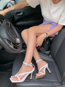 CM-SH060851 Women Casual Seoul Style Square Toe Solid Heel Sandals - White