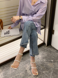 CM-SH060910 Women Casual Seoul Style Square Toe High Heel Sandals - White