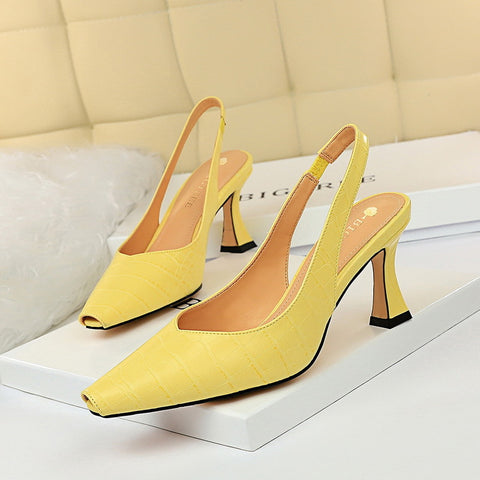 CM-SH072457 Women Casual Seoul Style Solid Closed Toe Heels - Yellow