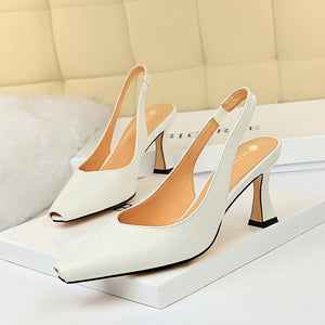 CM-SH072457 Women Casual Seoul Style Solid Closed Toe Heels - White