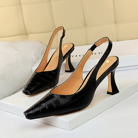 CM-SH072457 Women Casual Seoul Style Solid Closed Toe Heels - Black