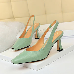 CM-SH072457 Women Casual Seoul Style Solid Closed Toe Heels - Green