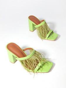 CM-SH121405 Women Trendy Chic Feather Chunky Heel Square Toe Slippers - Green