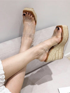 CM-SH010908 Women Trendy Seoul Style Square Toe Clear Upper Platform Wedges - Khaki
