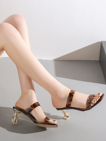CM-SH012101 Women Trendy Seoul Style Square Toe Leopard Printed Heeled Slippers - Brown