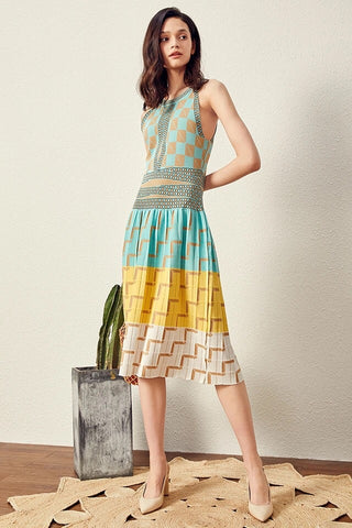 CM-DF060108 Women Casual Seoul Style Sleeveless Plaids Knitting Tank Long Dress