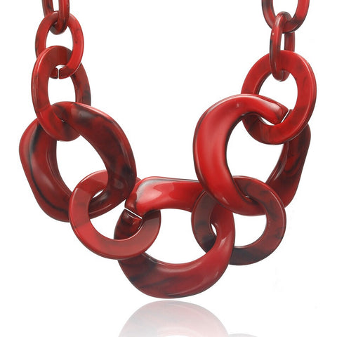 CM-AX300006 Women Trendy Geometric Chunky Necklace - Red