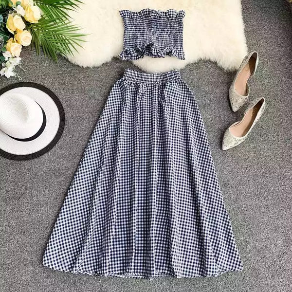 CM-S051639 Women Casual Seoul Style Off Shoulder Plaid Strapless Tank With Skirt - Set
