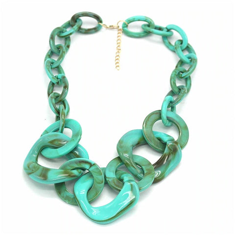 CM-AX300006 Women Trendy Geometric Chunky Necklace - Green