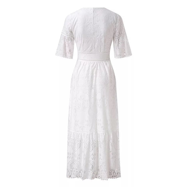 CM-D100829 Women Elegant European Style Single-Breasted Short Sleeve Lace Dress - White