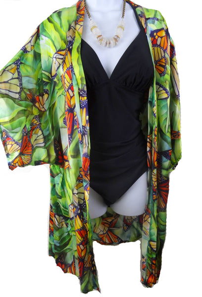 Monarch Butterfly Summer Cover Up - Silk Satin Duster - Silk Kimono - Cover Up - Silk Robe - One Size Plus