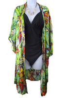 Monarch Butterfly - Summer Cover Up - Silk Satin Duster - Silk Kimono - Cover Up - Silk Robe - One Size Plus - silk-squirrel-llc