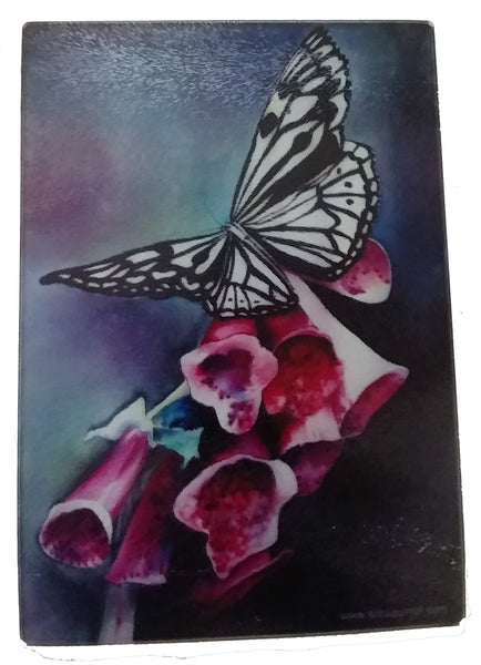 "Charcuterie Board - Foxgloves and Butterfly Cheese Tray - Art Glass - 10"" x 13"""