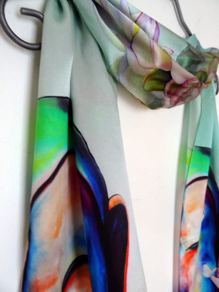 "SALE! Long Silk Scarf - Buddha - Lotus - Butterfly - Zen - Satin - Shawl - Mint Green - 22""X90"" - silk-squirrel-llc"