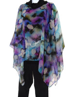 Petal Blossom Art Cape - Sheer Silk Cover Up - Resort Wear - Wearable Art Poncho - Impressionist Painting - Gift For Her - ONE SIZE PLUS