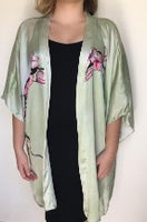 Kimono - Satin - Cover Up - Dinner Jacket - Duster - Cherry Blossom - Mint Green - Sakura Japanese - One Size, Plus - silk-squirrel-llc