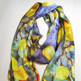 "Blue Silk Scarf - Leaves Scarf - Shiny Silk Satin - Gift For Her - Bridal Scarf - 15"" x 60"""