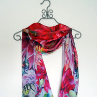 "Floral Silk Scarf - Dahlia Silk Scarf - Hummingbird Butterfly Silk Scarf - Spring Gift For Her - 15""x60"""
