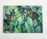 "Charcuterie Glass Board - Monarch Butterfly Tray - Glass Cutting Board - Hostess Gift - For Her - 10""x13"""