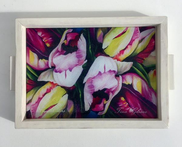 "Glass Cutting Board, Hostess Gift, Tulips, Decorative Tray, Cheese Tray, 10""x13"""