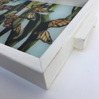 "Charcuterie Glass Board, Monarch Butterflies Tray, Glass Serving Tray, Cheese Board, 10""x13"""