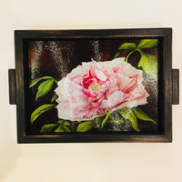 "Charcuterie Glass Board, Peony Hostess Gift, Cheese Tray, 10""x13"""