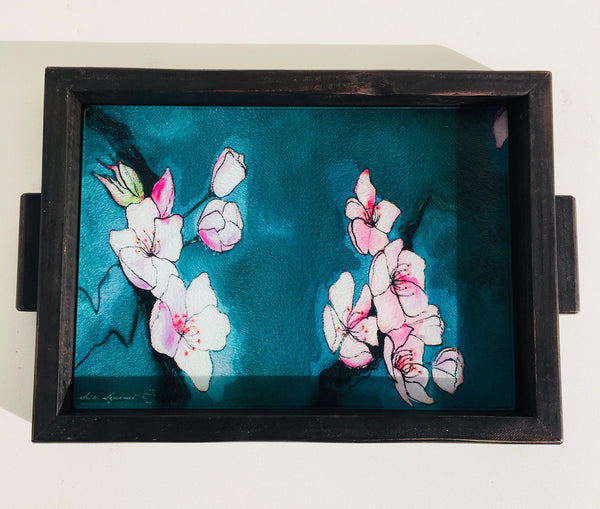 "Charcuterie Board - Cherry Blossom Cheese Tray - Art Glass - 10"" x 13"""