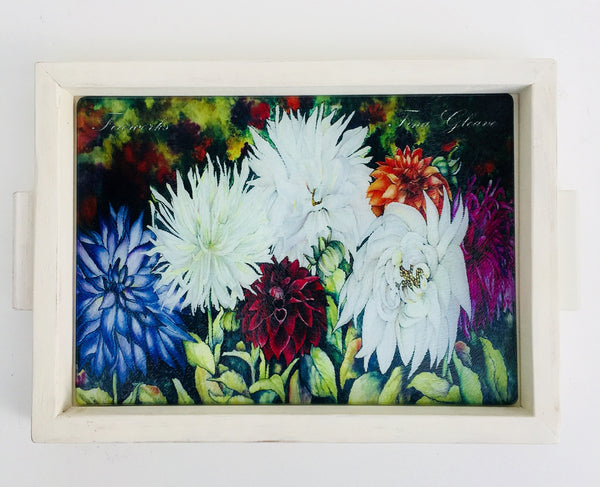 "Charcuterie Board - Floral Hostess Gift - Decorative Tray - Glass - 10"" x 13"""