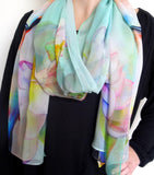 "Buddha Silk Scarf - Buddha - Lotus - Green - Sheer Silk - 22"" X 90"""
