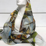 Monarch Butterfly Silk Scarf - Butterfly Sheer Silk Scarf - Spring Scarf - Gift For Her - Garden Lover Scarf - 15""
