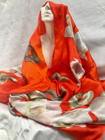 "Long Vibrant Silk Scarf - Orange Spring Scarf - Shiny Silk Satin - Scarf For Her - Garden Shawl - 22""x90"""