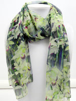 "Orchid Silk Scarf - Spring Orchid Scarf - Bridal Gift - Tropical Scarf - Sheer - 15"" x 60"""