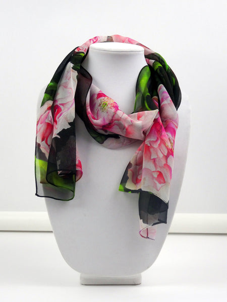 "Spring Floral Silk Scarf - Peony Silk Scarf - Scarf For Her - Mother of the Bride - Wedding - 15"" x 60"""
