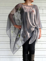 Blue Silk Cape - Sheer Silk Travel Poncho - Spring Gift For Her - Floral Sheer Caftan - Plus Clothing