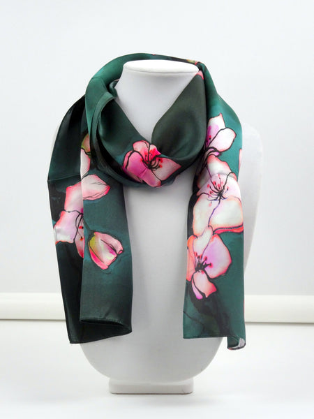 "SALE! Scarf - Japan Art - Cherry Blossom - Spring Scarf - Sakura - Mother of the Bride - Sheer Silk Scarf - 11""x60"""