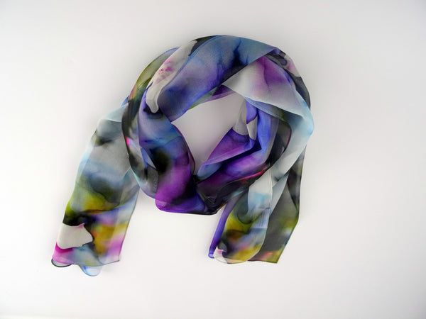 "Purple Silk Scarf - Spring Silk Scarf - Cherry Blossom Sheer Scarf - Scarf For Her - 15"" x 60"""