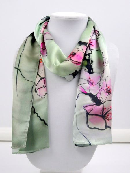"Mint Green Silk Scarf - Cherry Blossom - Spring Scarf - Shiny Silk Satin - Sakura - Pink - Japanese Art - 11""x60"""