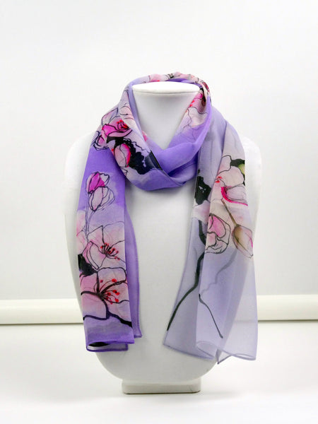 "Silk Scarf - Cherry Blossom - Lavender - Pink - Mother of the Bride - Japan Scarf - Sheer- Spring Scarf - 11"" x 60"""