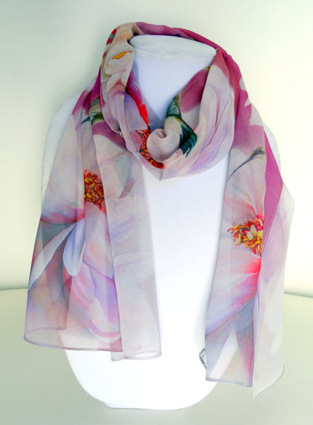 "Hummingbird Silk Scarf - Peony Silk Scarf - Spring Silk Scarf - Wedding Scarf - Mother of the Bride - 15"" x 60"""