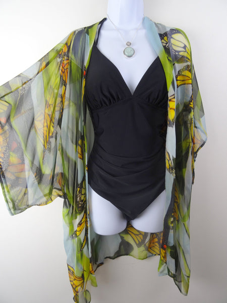 Butterfly Kimono - Monarch Butterfly Dinner Jacket- Silk Cover Up - Resort Wear - Sheer Lingerie - One Size Plus