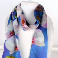 "Blue Silk Scarf - Tropical - Orchids - Hawaiian Scarf - Garden Lover - Silk Satin - 15""x 60"""