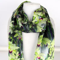 "Floral Silk Scarf - Orchid Silk Scarf - Spring Gift For Her - Tropical Scarf - 15"" x 60"""